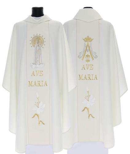 Cream Gothic Chasuble Our Lady of Fatima model 728