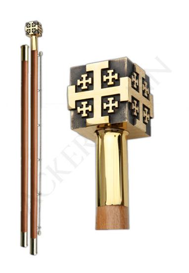 Flag pole with brass church ornament Jerusalem cross