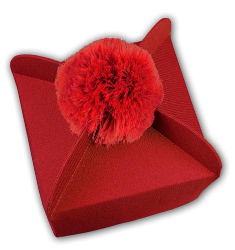 Red Biretta 4 corners with pom-pom