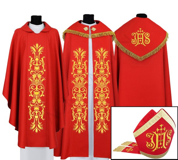 Red Set of Gothic Cope, chasuble and mitre model 518